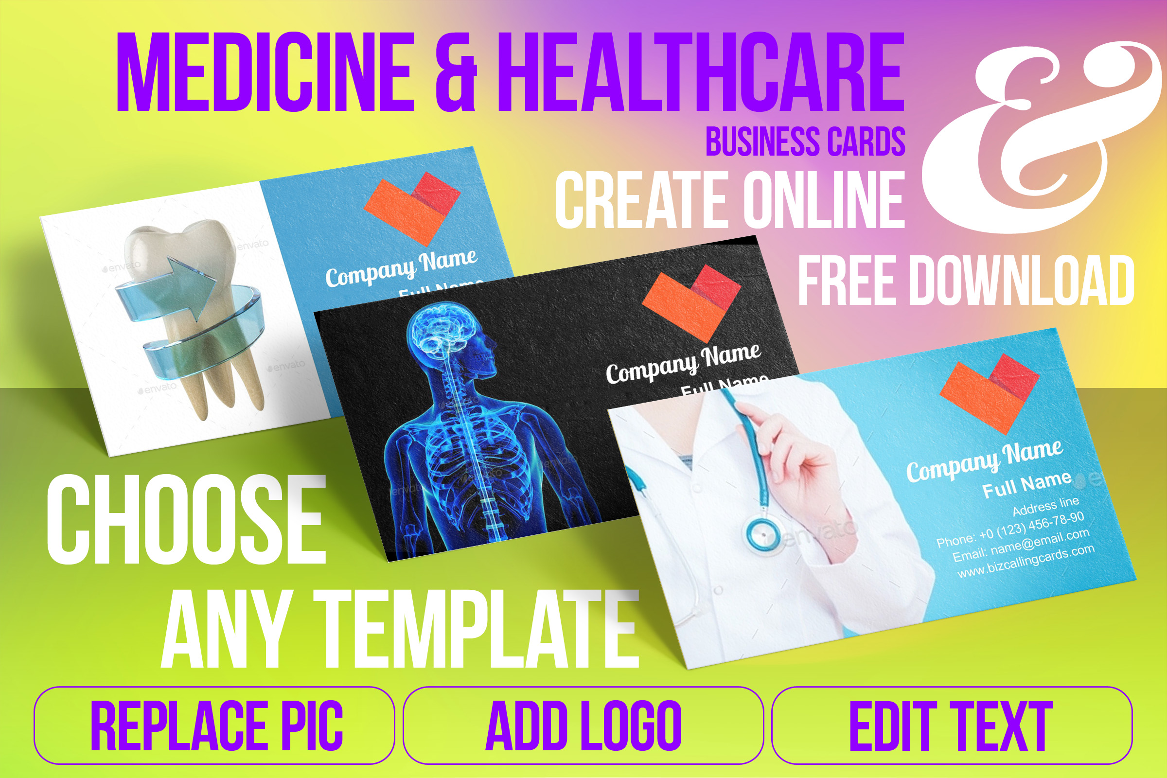Business Card Templates For Medicine & Healthcare Free Download