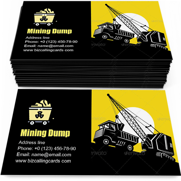 Sample of Mining Dump Truck calling card design for advertisements marketing ideas and promote truck service branding identity