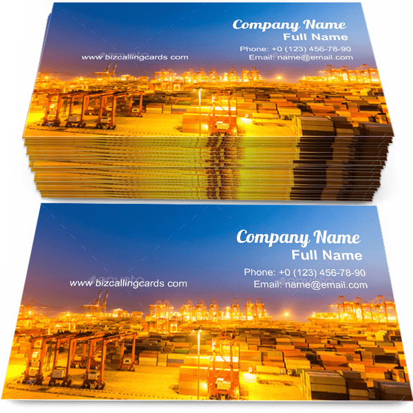 Sample of Modern shipping harbor calling card design for advertisements marketing ideas and promote shanghai branding identity
