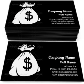 Money Icon with Bag Business Card Template
