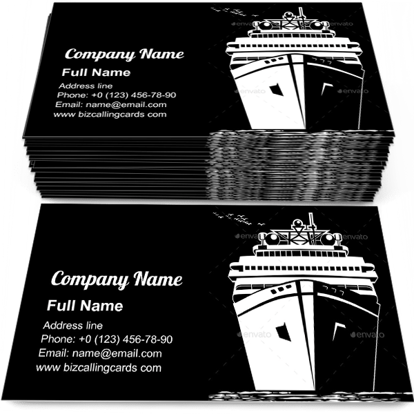 Sample of Ocean liner calling card design for advertisements marketing ideas and promote transportation branding identity