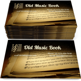 Old music book Business Card Template