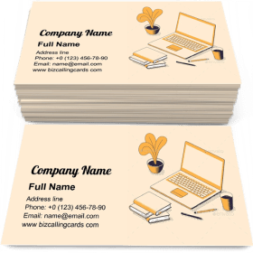 Online Education Isometric Business Card Template