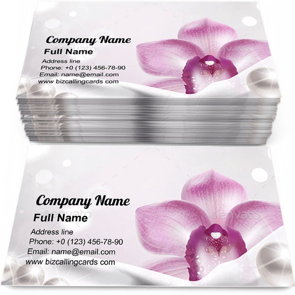 Sample of Orchid and White Satin Fabric calling card design for advertisements marketing ideas and promote Luxury Floral branding identity