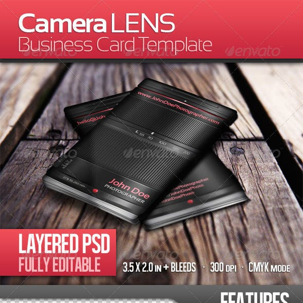 Photographer Lens Business Card Template Free Download