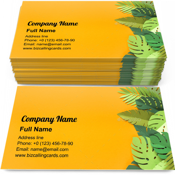 Sample of Piece of jungles calling card design for advertisements marketing ideas and promote tropic trendy branding identity