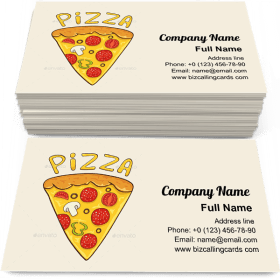 Pizza slice with cheese Business Card Template