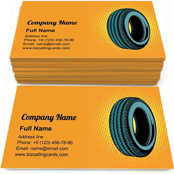 Sample of Pop art car tire one calling card design for advertisements marketing ideas and promote vehicle service branding identity