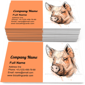 Portrait of a Pig Head Business Card Template