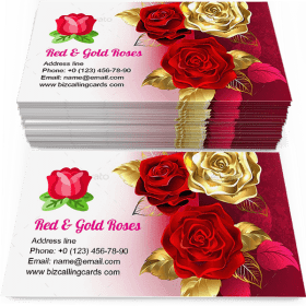 Red and gold roses Business Card Template