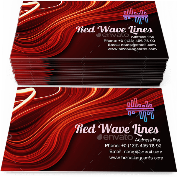 Sample of Red wave lines calling card design for advertisements marketing ideas and promote art style branding identity