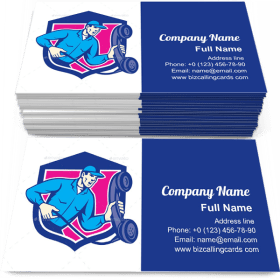Repairman Holding Phone Business Card Template