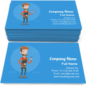 Repairman Holding Spanner Business Card Template