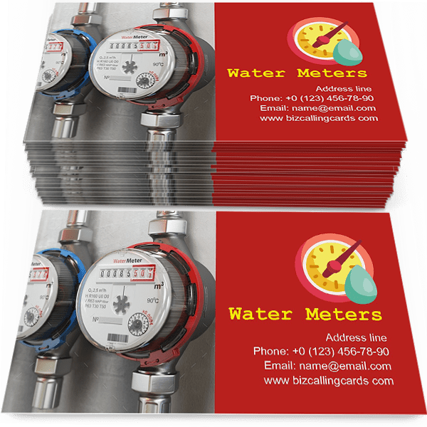 Sample of Row of water meters calling card design for advertisements marketing ideas and promote consumption engineering service branding identity