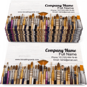 Artistic Brushes in a Row Business Card Template