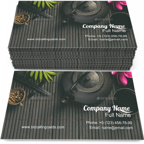 Sample of Asian Tea calling card design for advertisements marketing ideas and promote tea time branding identity
