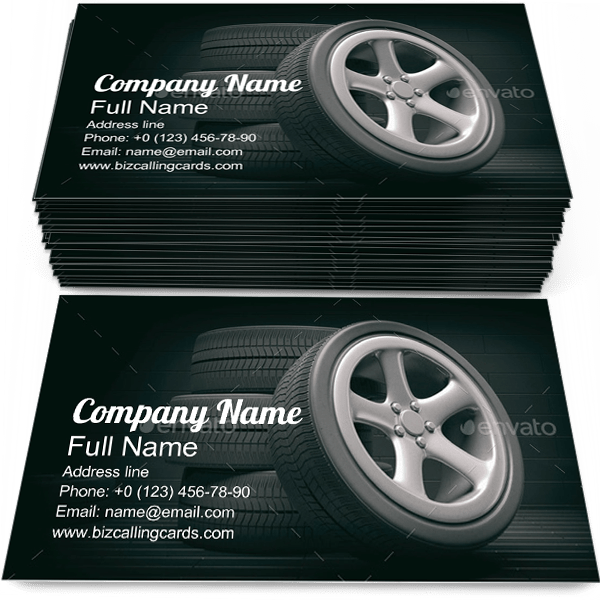 Sample of Car Tires calling card design for advertisements marketing ideas and promote Rims branding identity