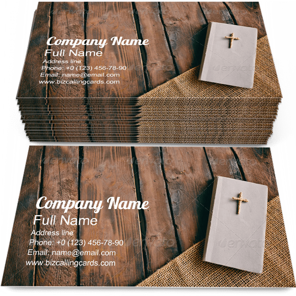 Sample of Christian Book calling card design for advertisements marketing ideas and promote religious branding identity