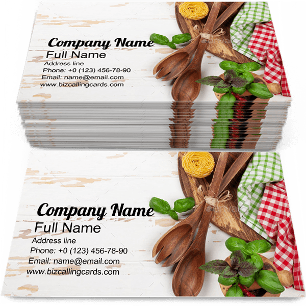 Sample of Cooking Utensils calling card design for advertisements marketing ideas and promote kitchenware branding identity
