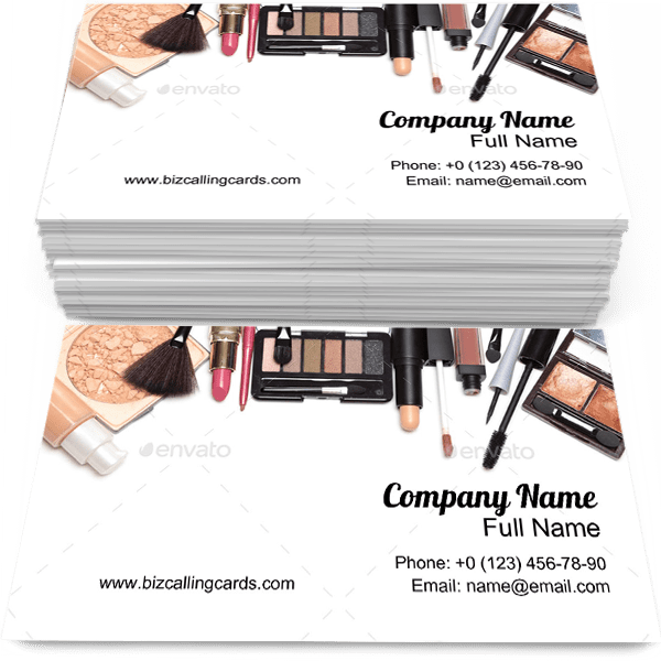 Sample of Cosmetics calling card design for advertisements marketing ideas and promote Makeup branding identity