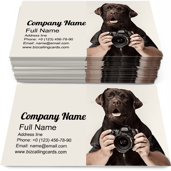 Sample of Dog Photographer calling card design for advertisements marketing ideas and promote animal photographer branding identity