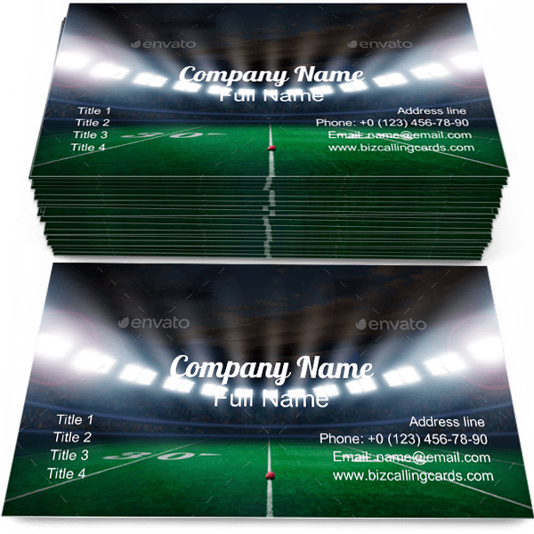 Sample of Stadium calling card design for advertisements marketing ideas and promote Football branding identity