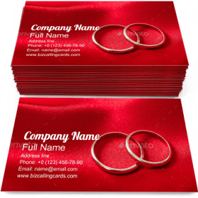 Golden Wedding Rings Business Card Template