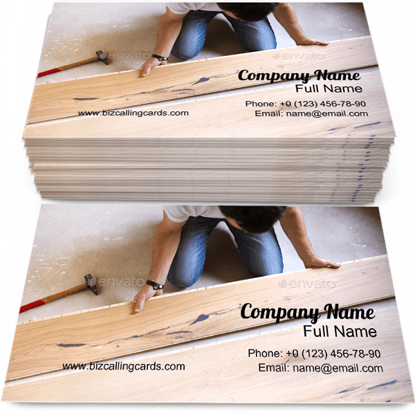 Sample of Wooden Floor calling card design for advertisements marketing ideas and promote Installing branding identity