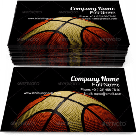 Old Basketball on Black Business Card Template