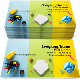 School Accessories Kit Business Card Template