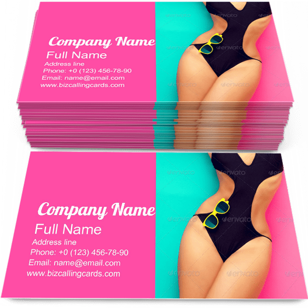 Sample of Bathing Suit calling card design for advertisements marketing ideas and promote glamour Fashion branding identity
