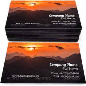 Sunset over Mountains Business Card Template