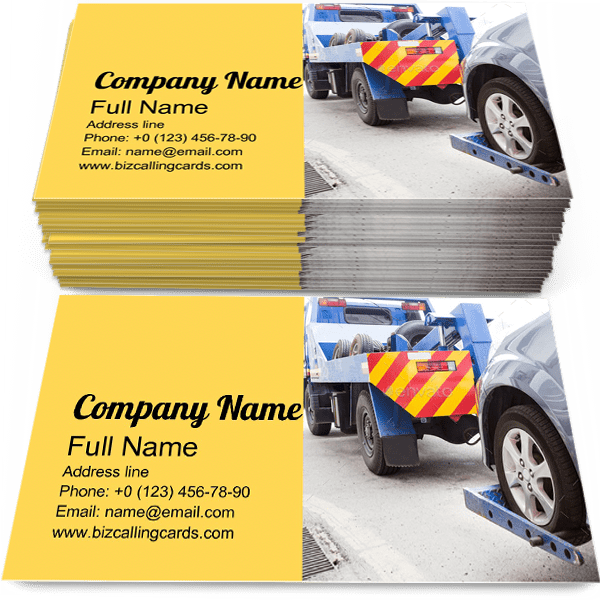Sample of Tow Truck calling card design for advertisements marketing ideas and promote Towing branding identity