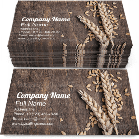 Wheat Ears on Old Plank Business Card Template
