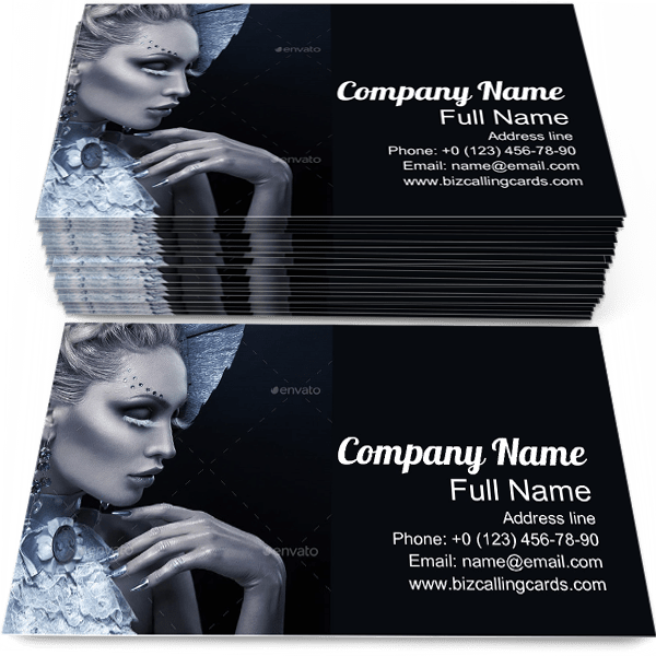 Sample of Winter Queen calling card design for advertisements marketing ideas and promote Fashion Beauty branding identity