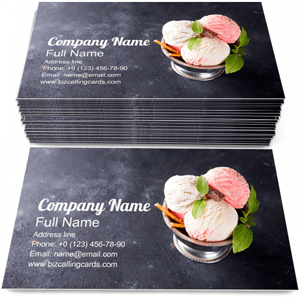 Sample of Ice Cream calling card design for advertisements marketing ideas and promote  dessert branding identity