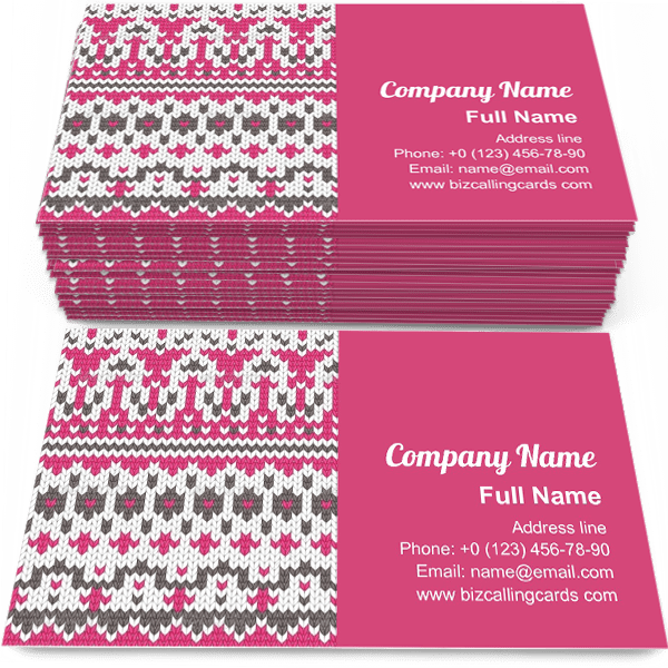 Sample of Seamless Knitted calling card design for advertisements marketing ideas and promote winter handmade branding identity