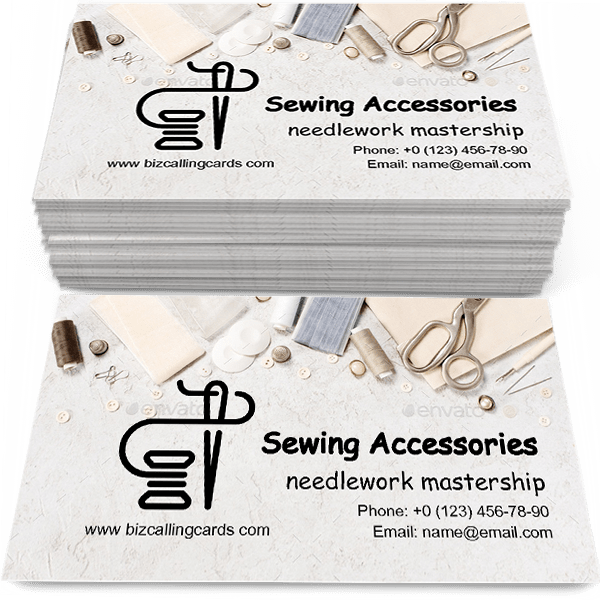 Sample of Sewing accessories calling card design for advertisements marketing ideas and promote needlework mastership branding identity