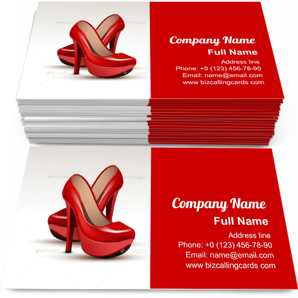 Sample of Shoes High Heels calling card design for advertisements marketing ideas and promote varnish shoes heels branding identity