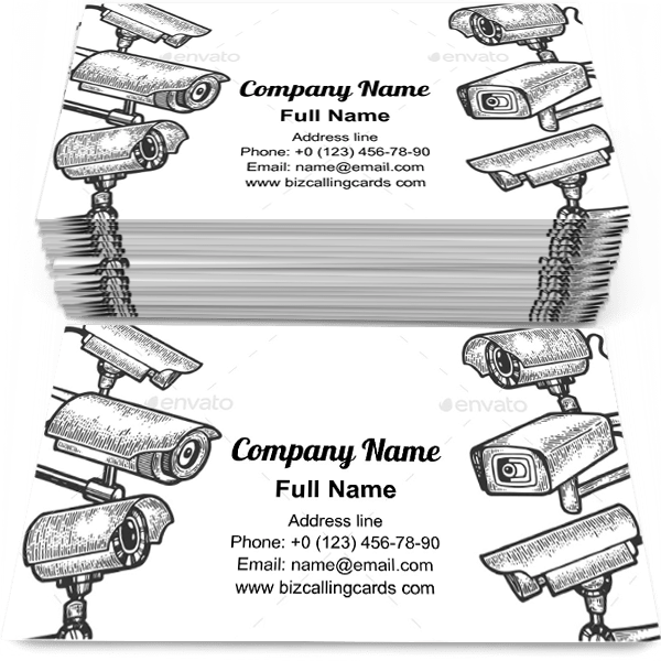 Sample of Sketch Surveillance Camera calling card design for advertisements marketing ideas and promote Security systems branding identity