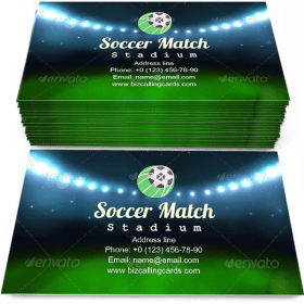 Soccer match stadium Business Card Template