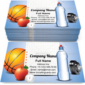 Sport Items with Paper Business Card Template