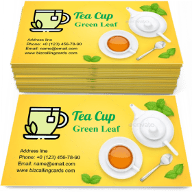 Tea Cup and Green Leaf Business Card Template