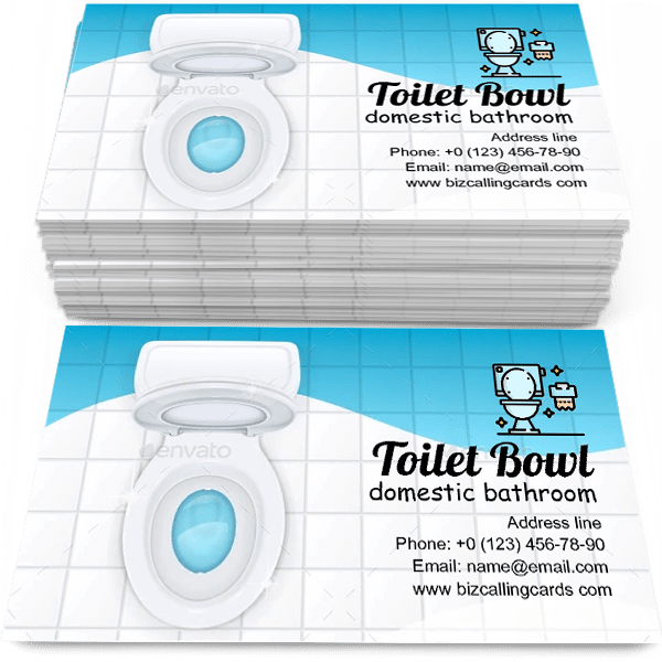 Sample of Toilet Bowl with Open Cover calling card design for advertisements marketing ideas and promote domestic bathroom branding identity