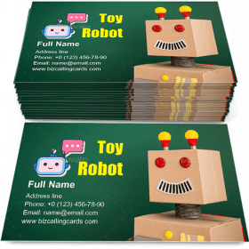 Toy robot in school Business Card Template