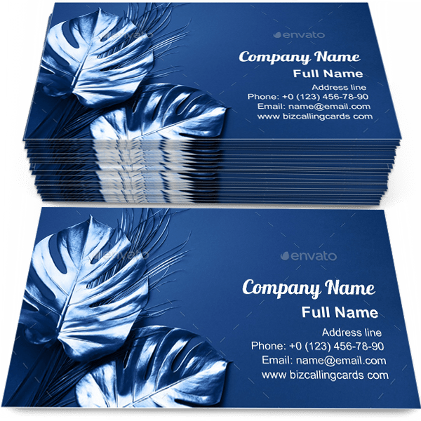 Sample of Tropical palm monstera calling card design for advertisements marketing ideas and promote sparkle branding identity