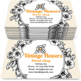 Vintage Botanical Flowers Business Card Template