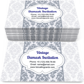 Vintage damask invitation Business Card Template