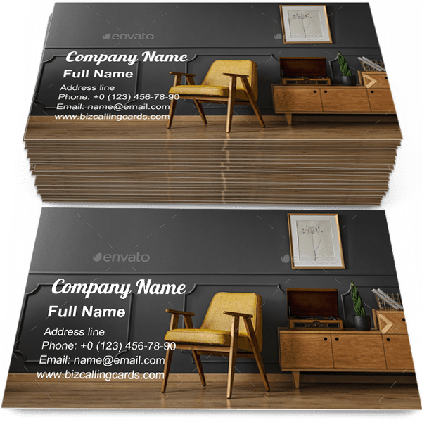 Sample of Vintage room interior calling card design for advertisements marketing ideas and promote classic apartment branding identity