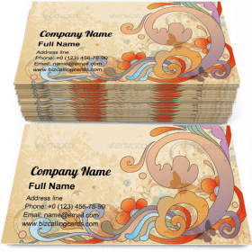 Waves floral ornament Business Card Template